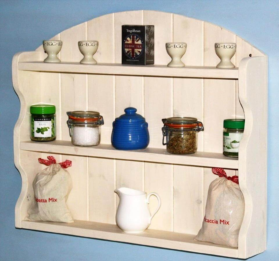 recycled pallet arched shelving unit