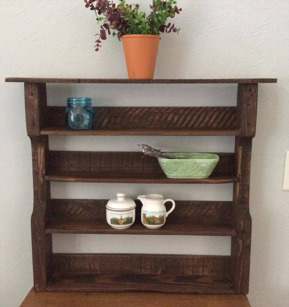 recycled pallet decorative wall shelves or spice rack