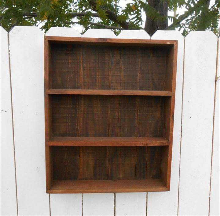 recycled pallet open face wall cabinet