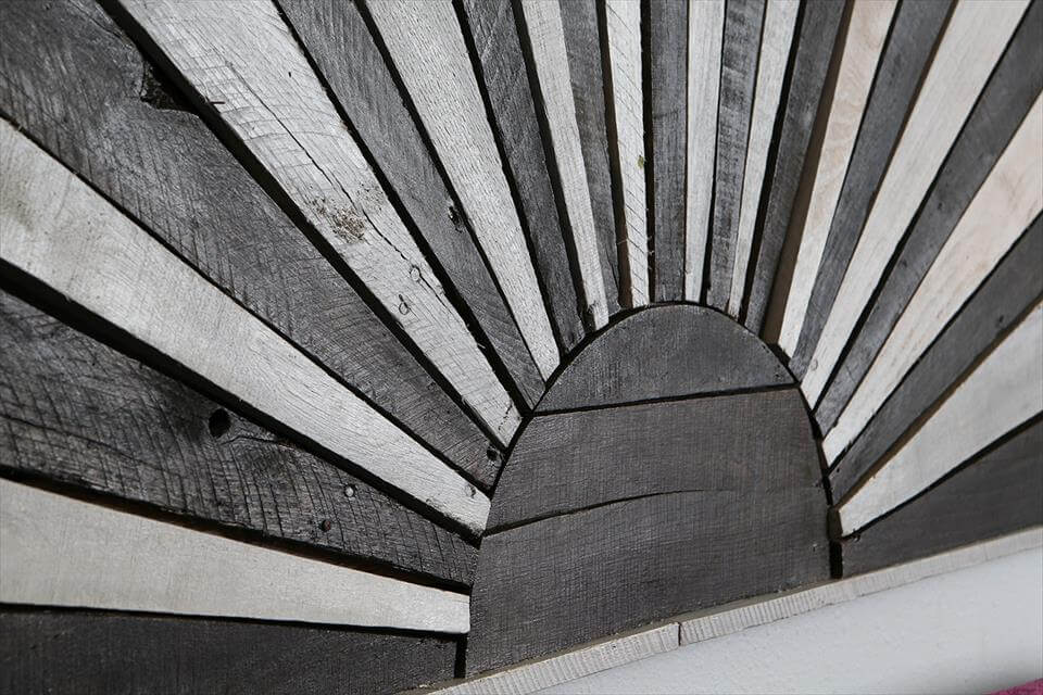 recycled pallet winter sun headboard