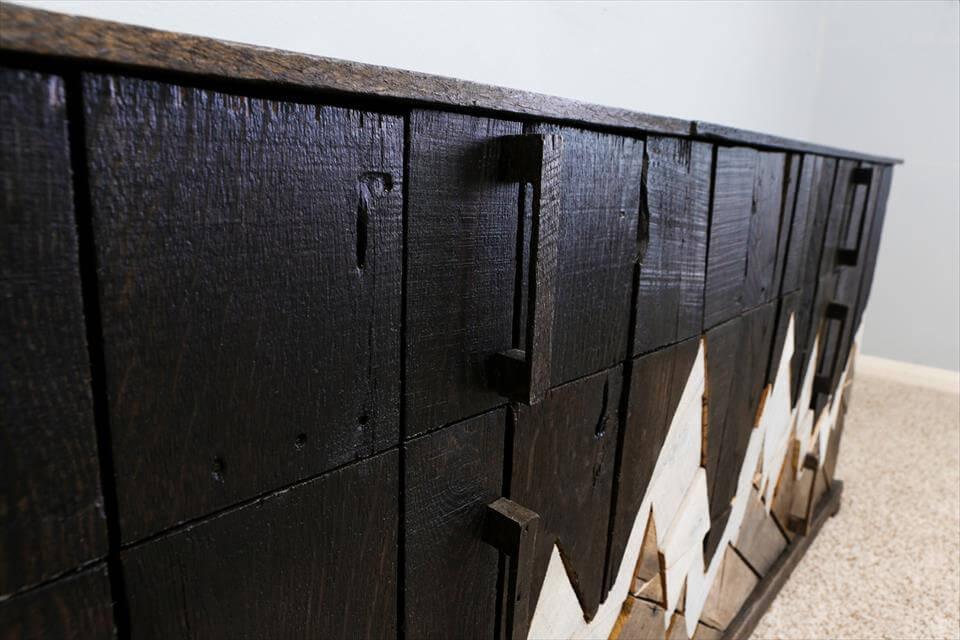repurposed pallet dresser inspired of majestic mountain range