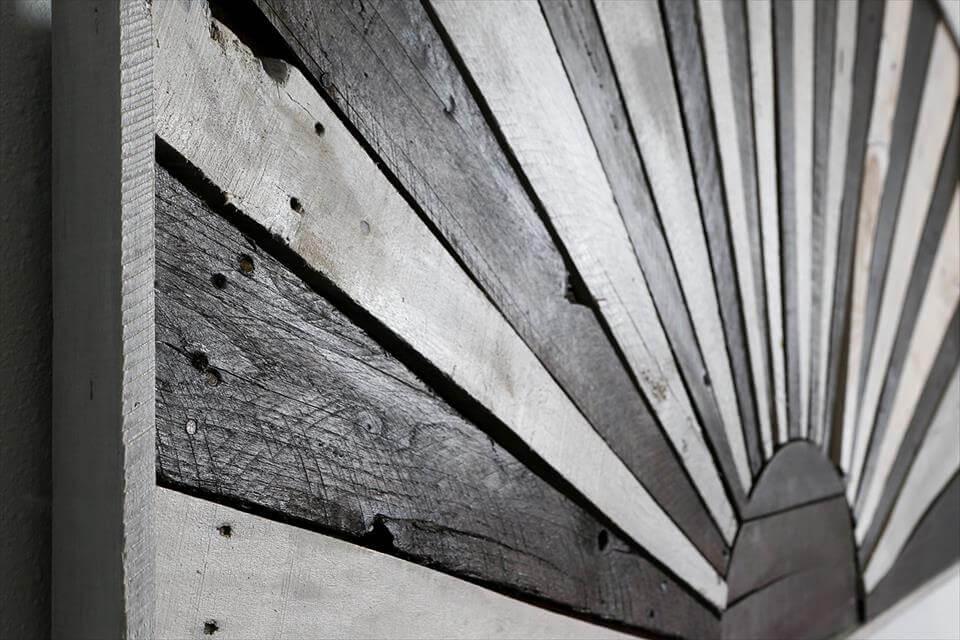 repurposed wooden pallet winter's sun headboard