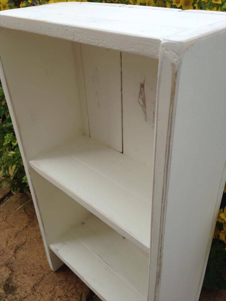 handcrafted pallet white painted bookcase