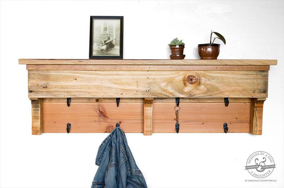 reclaimed pallet coat rack and shelf