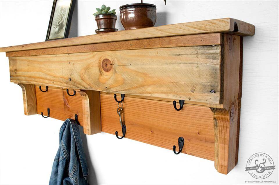 repurposed pallet entryway organizer or coat rack