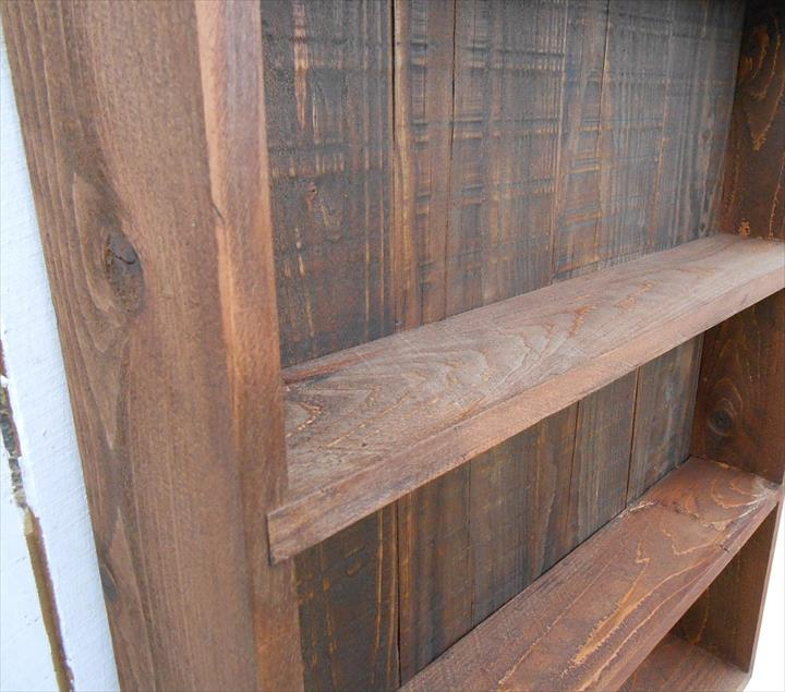 upcycled pallet open faced wall cabinet