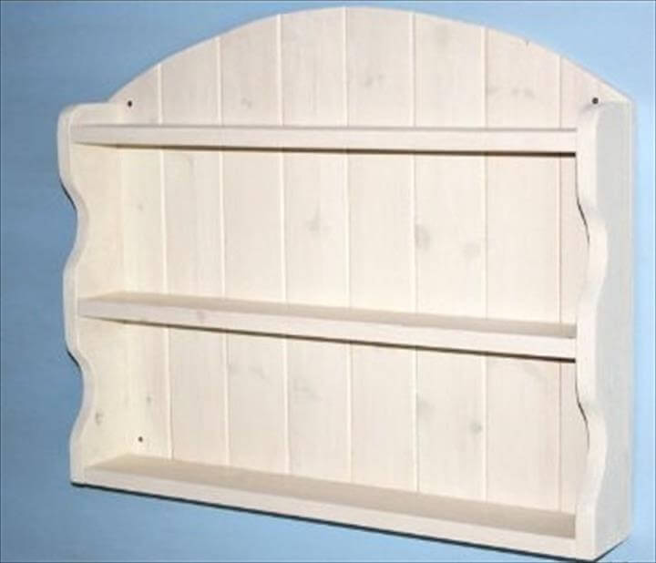 homemade creamy white pallet arched shelving unit