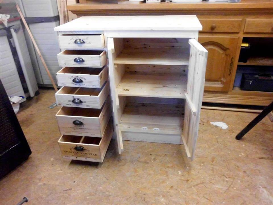 rustic pallet chest of drawers and cabinets