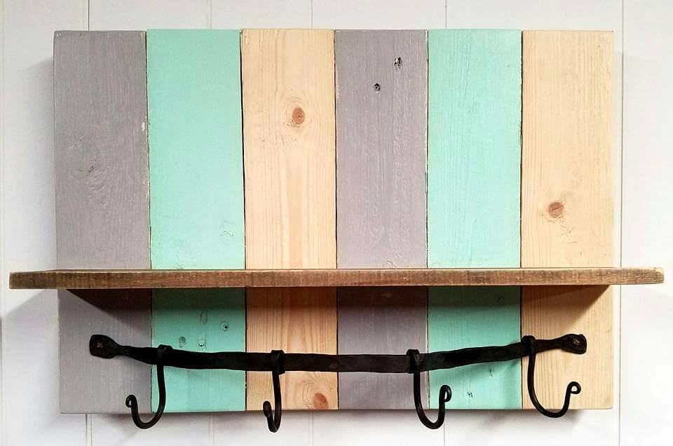 handmade pallet coffee mug rack