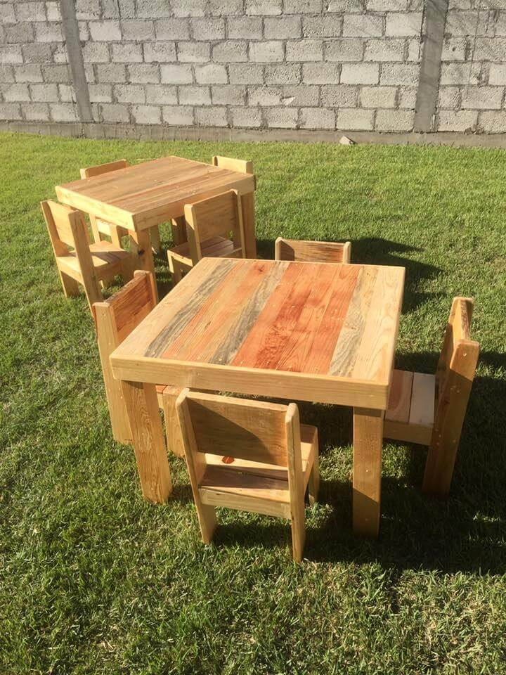 wooden pallet dining set for kids