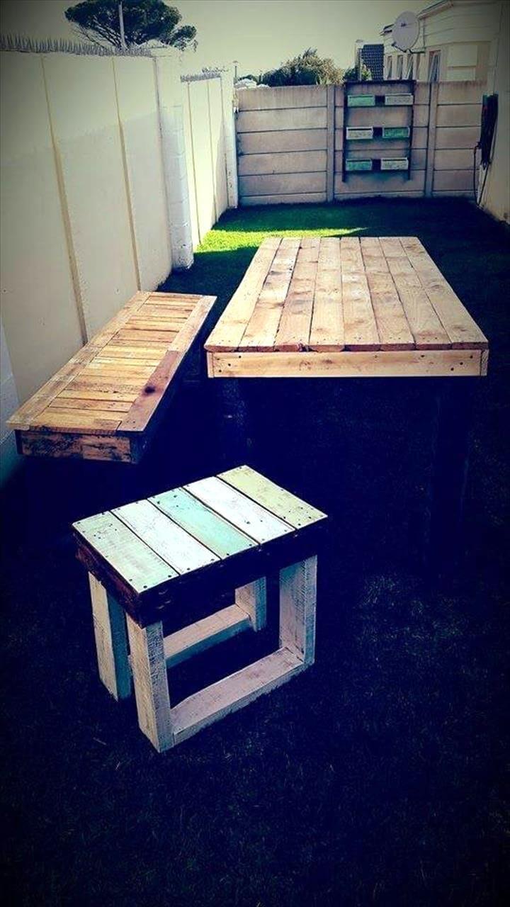 handmade pallet dining table set