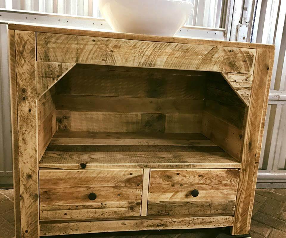 shabby chic style pallet bathroom cabinet