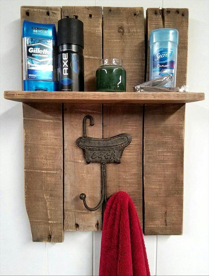 brown stained pallet rack
