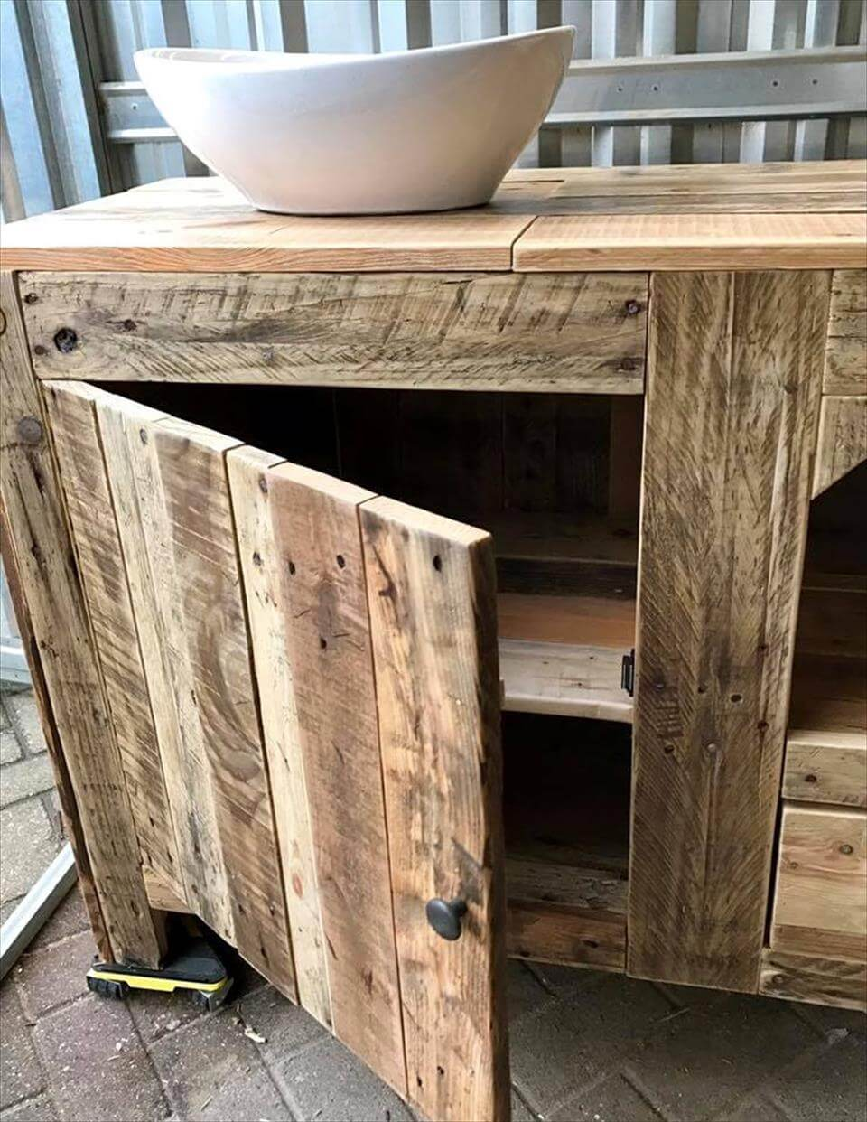 rustic pallet bathroom cabinet