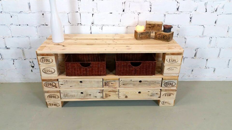diy simple pallet chest of drawer