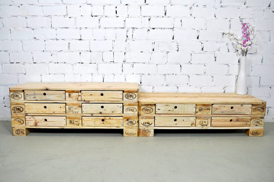 wooden pallet storage chest of drawers