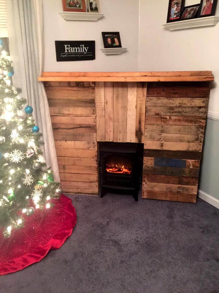 pallet made fireplace with mantle shelf