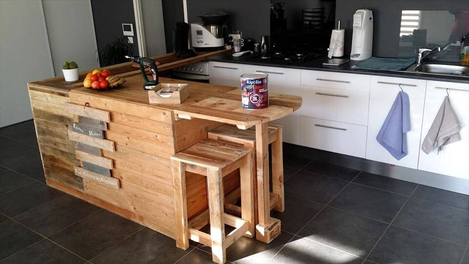 self made pallet kitchen counter