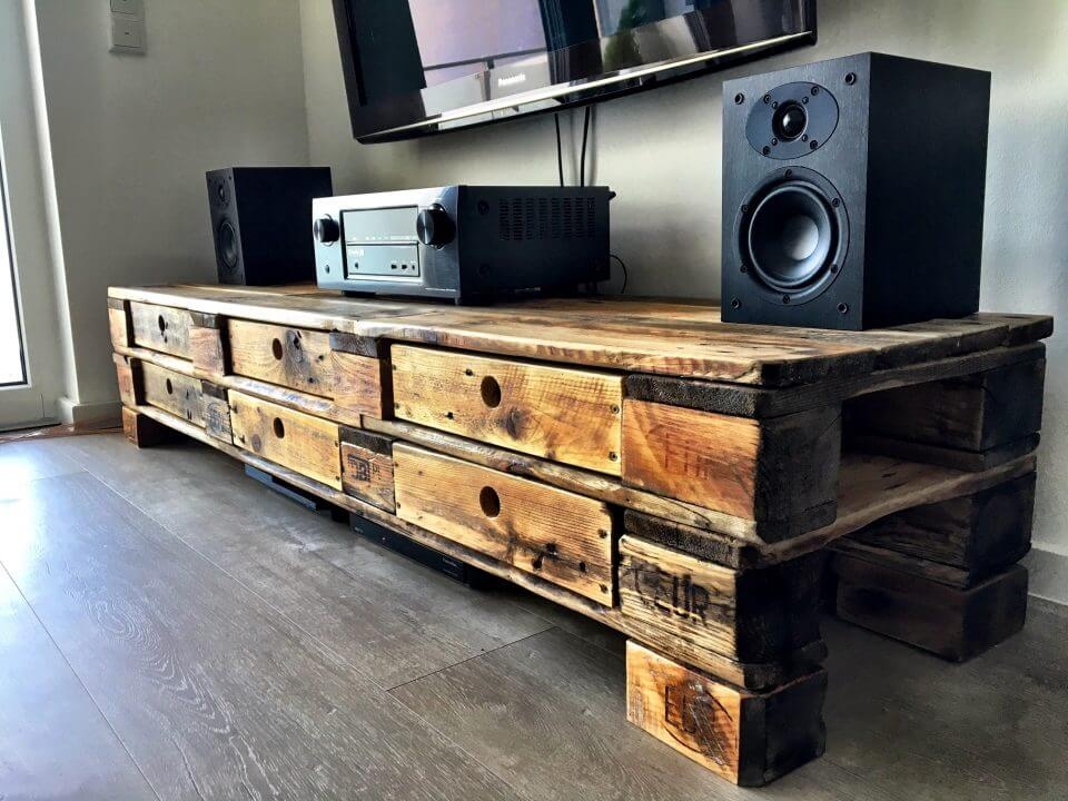 rustic pallet media console table