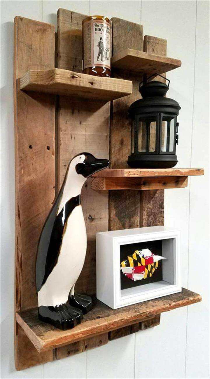 Handmade pallet shelf design