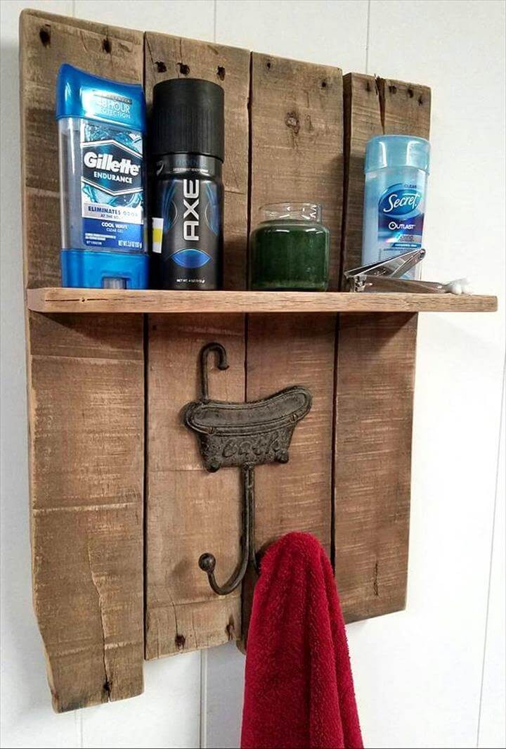 DIY Pallet Towel Rack with a Shelf - Pallets Pro