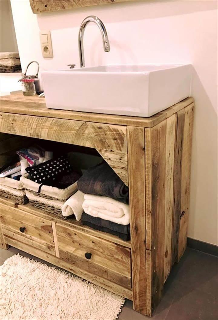 Diy Pallet Bathroom Vanity And Mirror Pallets Pro