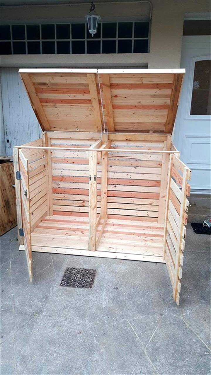 wooden pallet trash can cabinet