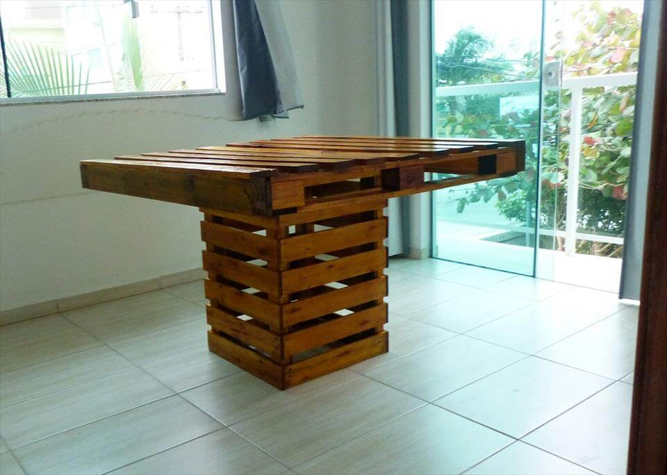 wooden pallet dining table Square Top Pallet