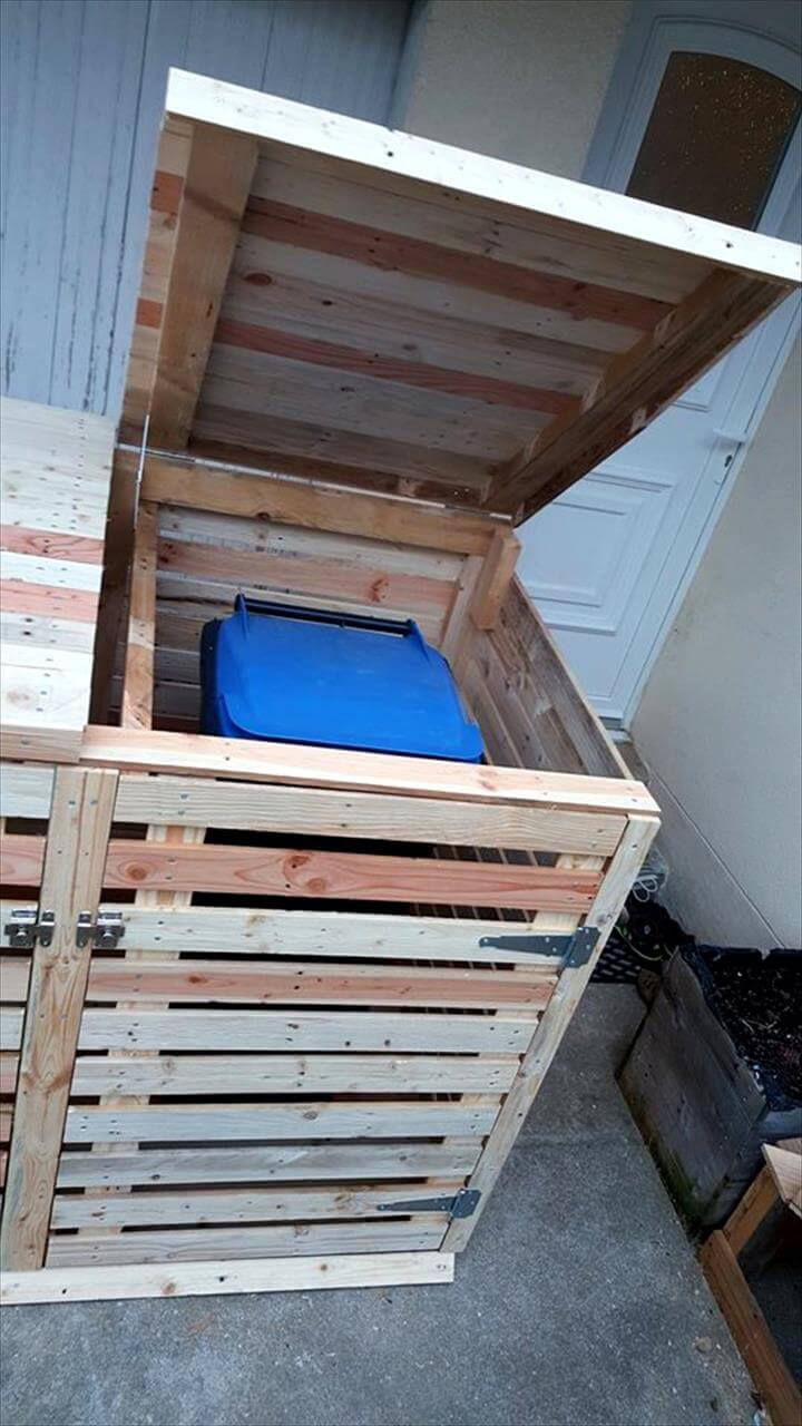 diy pallet trash can cabinet