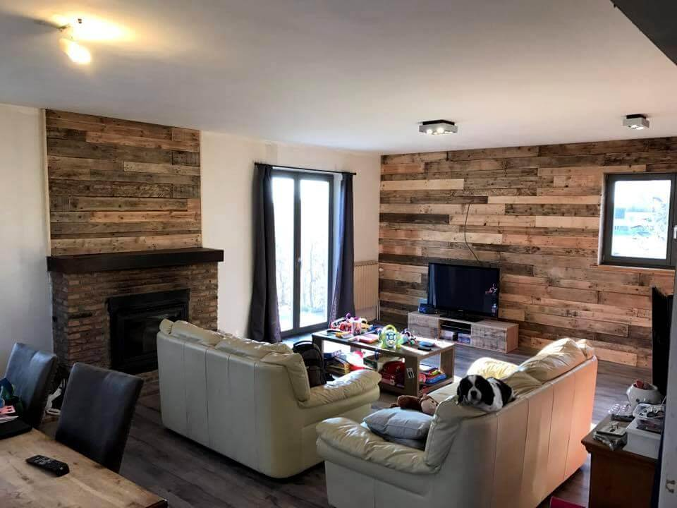 pallet wall paneling on living walls