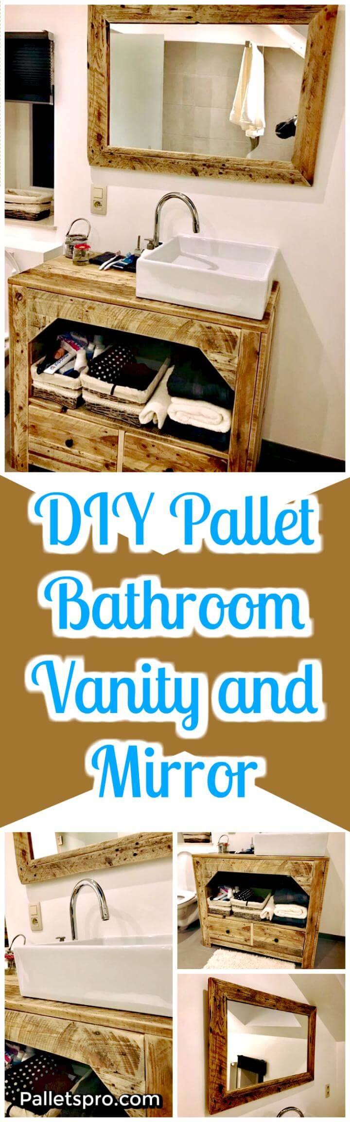 Pallet Bathroom Vanity and Mirror