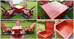 Pallet Adirondack Chairs Set with Coffee Table