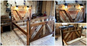 DIY Pallet Bed Frame With Lighted Headboard and Night Stands