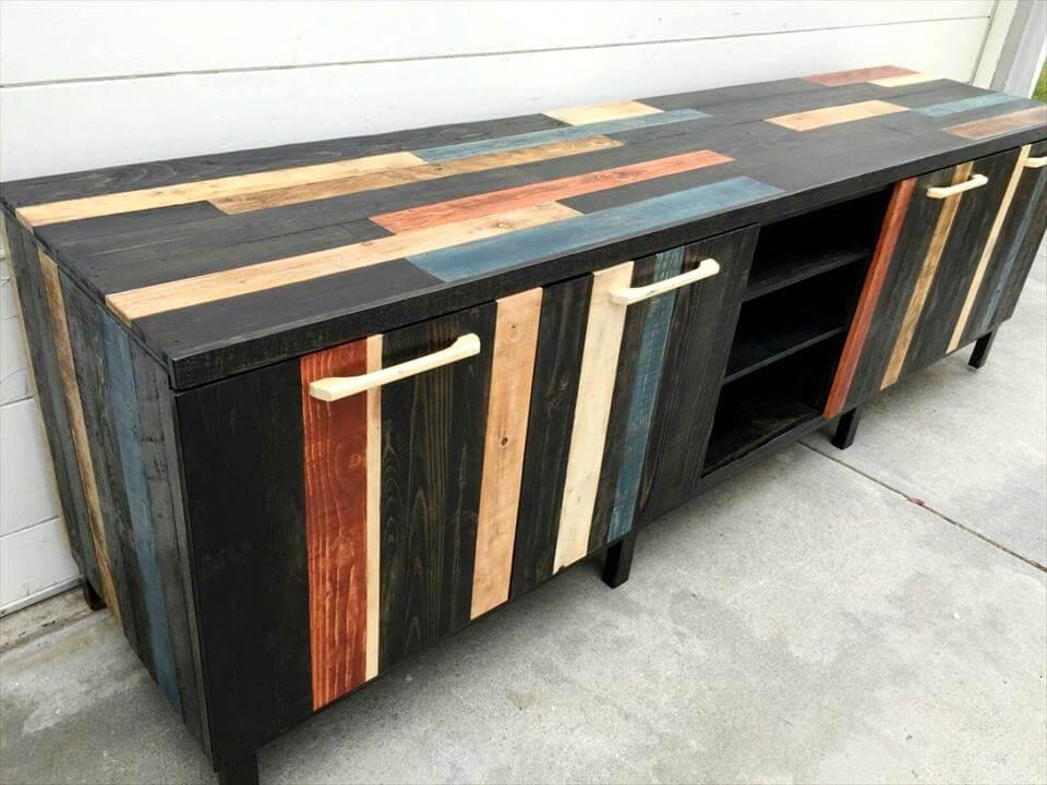 wooden pallet XL media cabinet on wheels