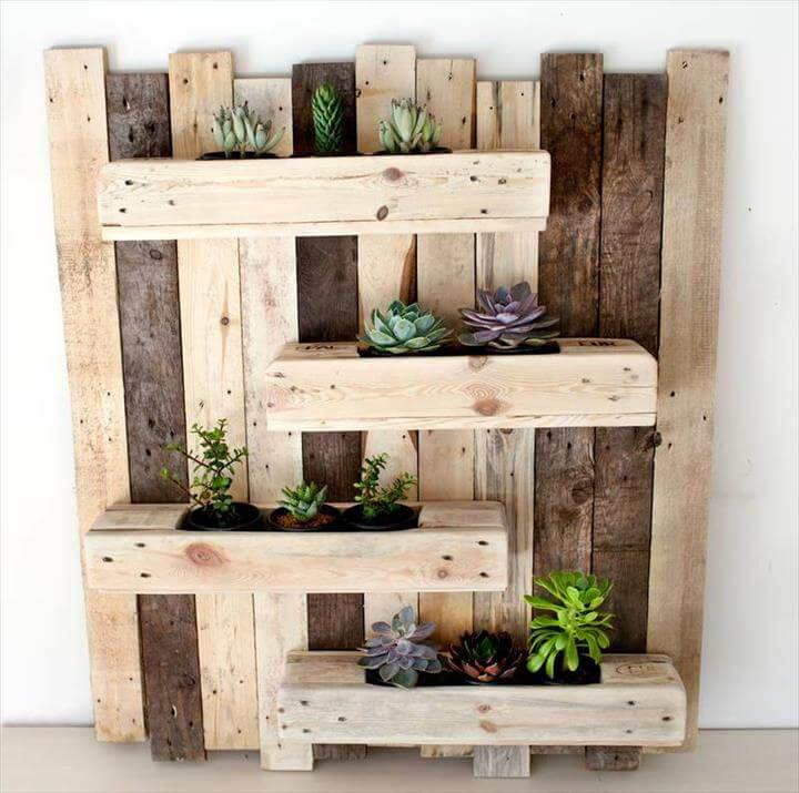 upcycled wooden pallet vertical succulent or herb planter