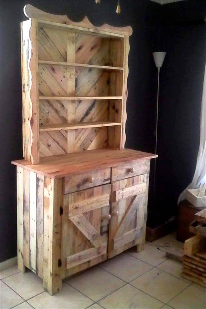 beautiful pallet kitchen hutch
