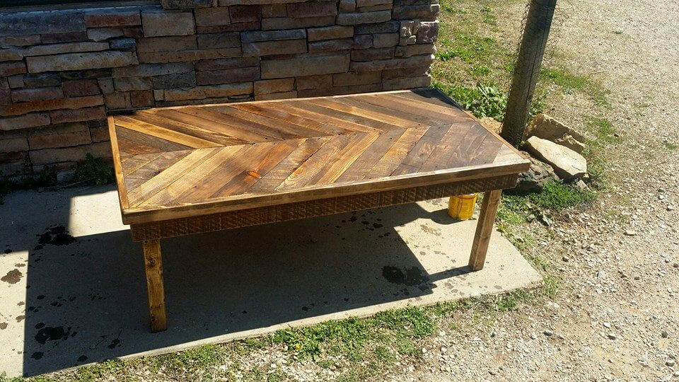 rustic wooden chevron coffee table