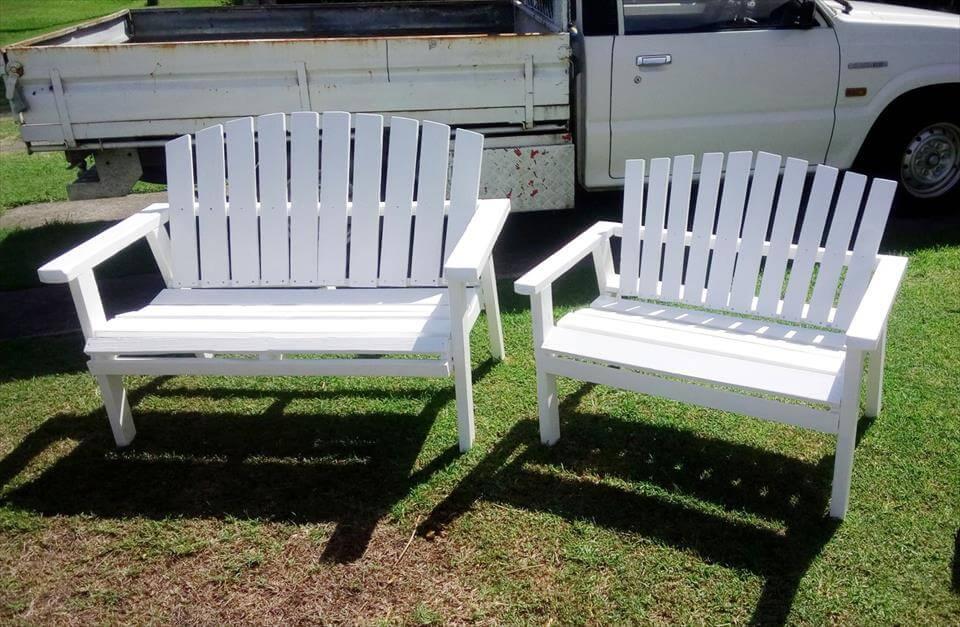 no-cost wooden pallet garden benches