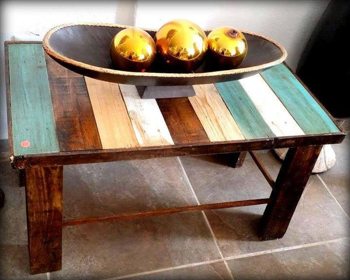 colorful wooden pallet table