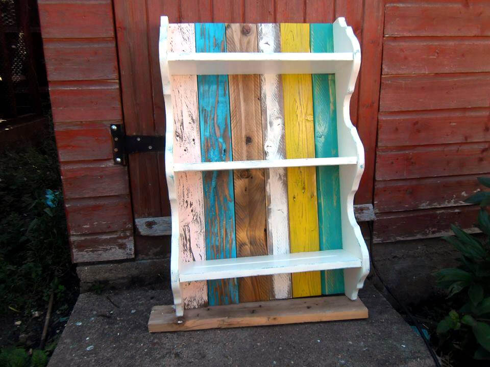 colorful pallet shelves with decorative edging