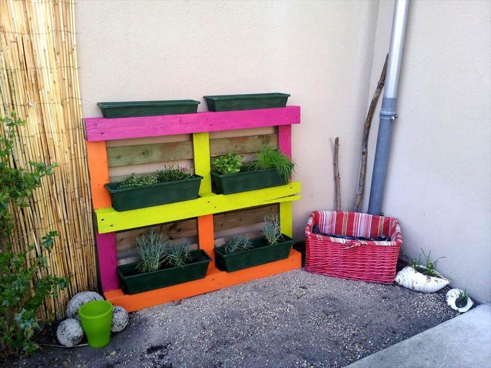 colorful pallet pot organizer
