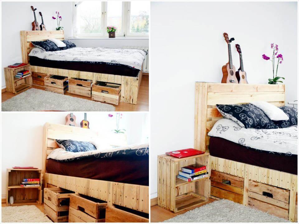 diy pallet bed with underside storage