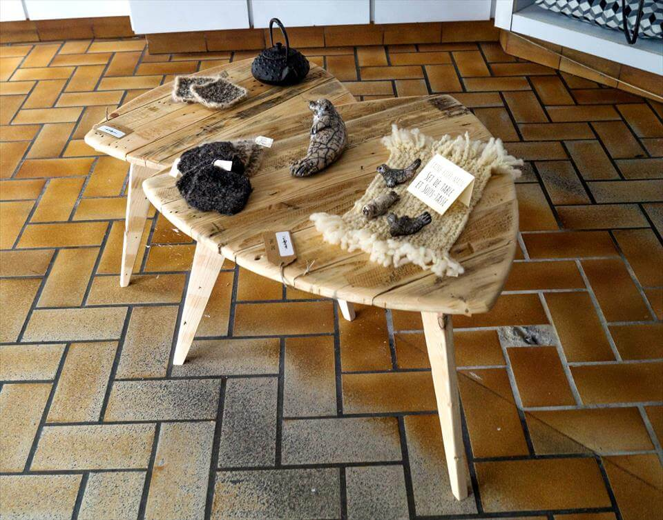 recycled pallet mini side tables with 3 legs