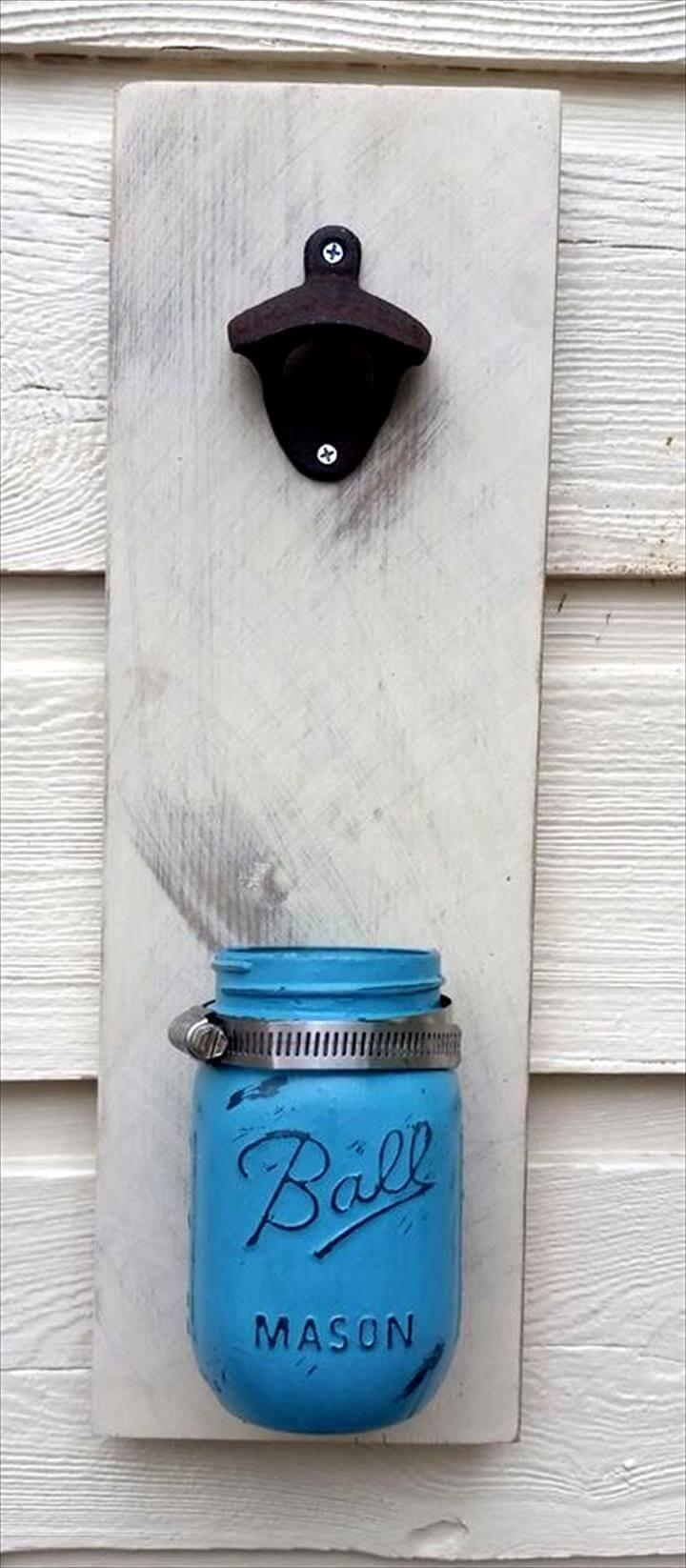 pallet and old mason jar bottle opener