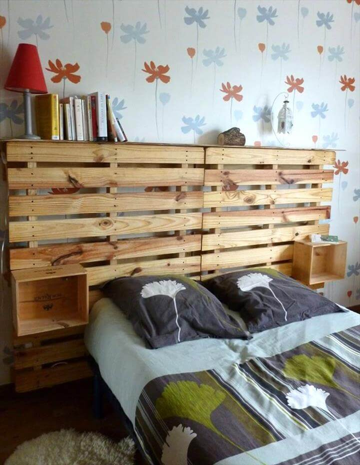 brilliant pallet headboard with storage boxes