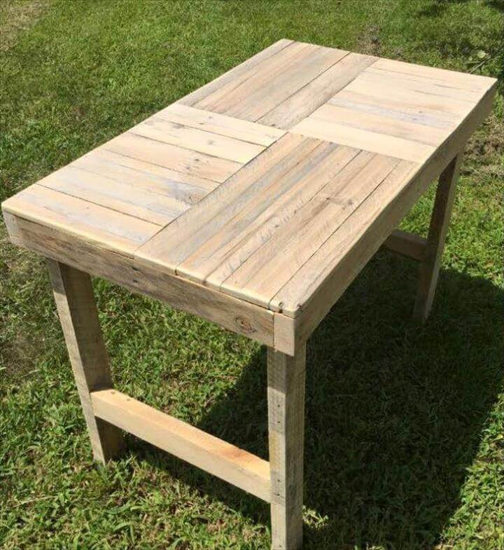 handmade wooden pallet multipurpose table with patterned top