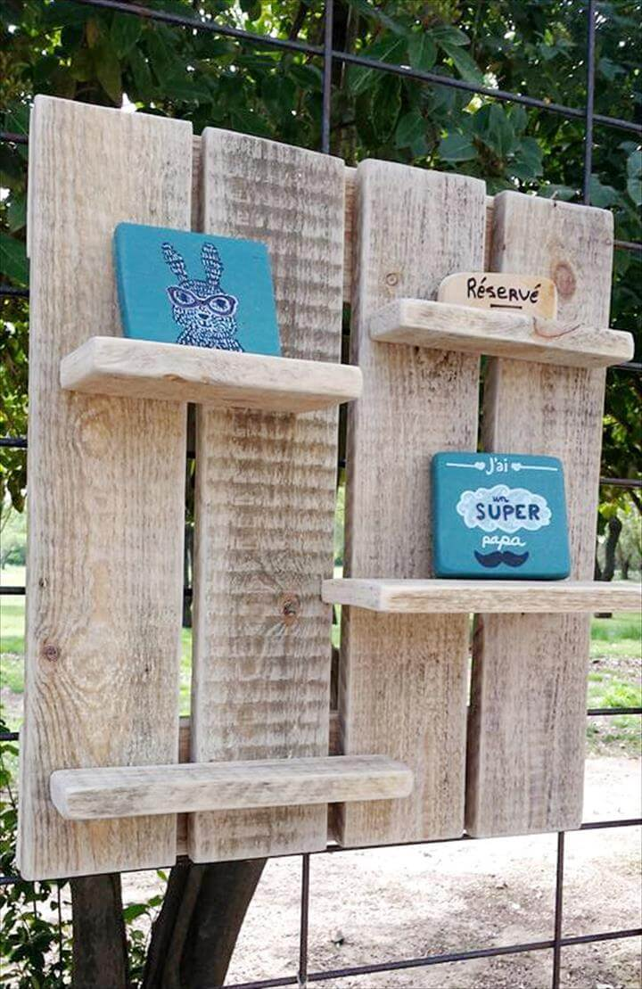 rustic pallet wall display shelf