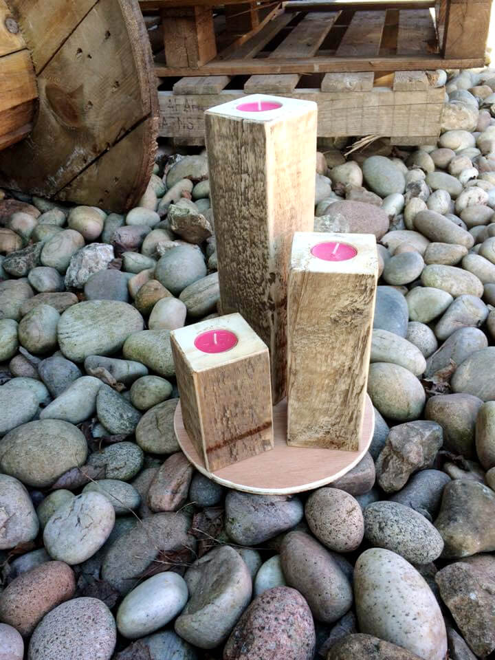 pallet block style candle votives