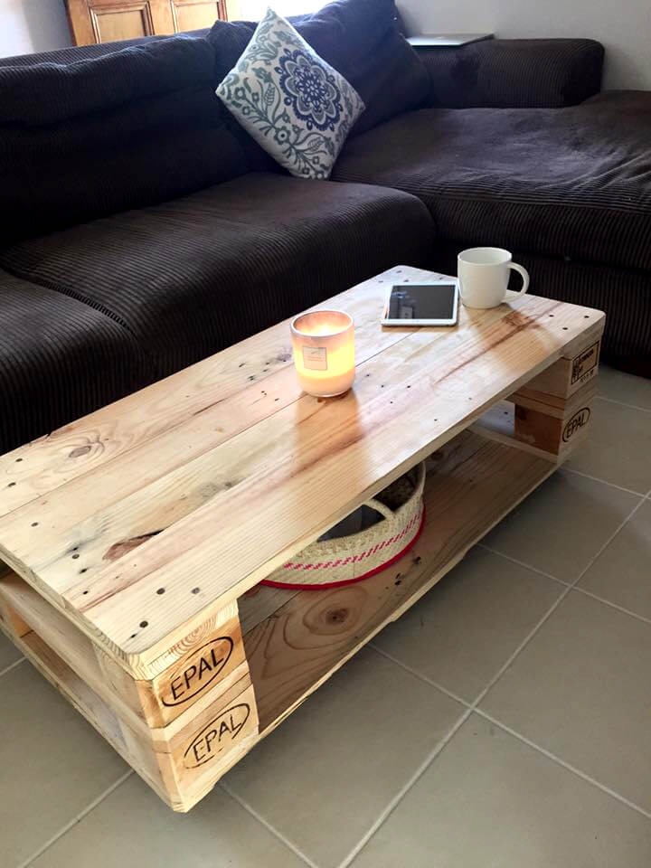handmade pallet low coffee table with storage