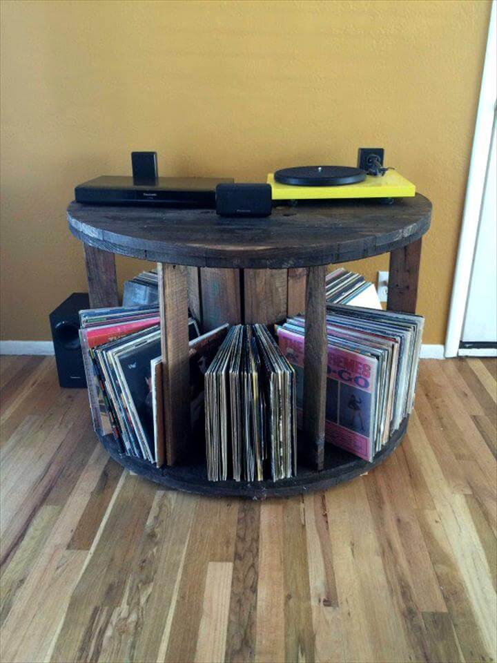 rustic pallet spool table with book storage